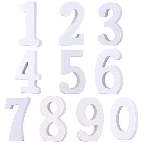 Alishare Wooden Numbers for DIY Craft, Number 0 to 9 for Wedding Nursery Home Decoration