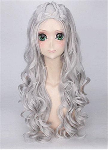 [OYSRONG 31.5'' Women Long Curly Anime Daenerys Targaryen Costume Cosplay Lace Cap Wig (gray)] (Daenerys Targaryen Costume Hair)