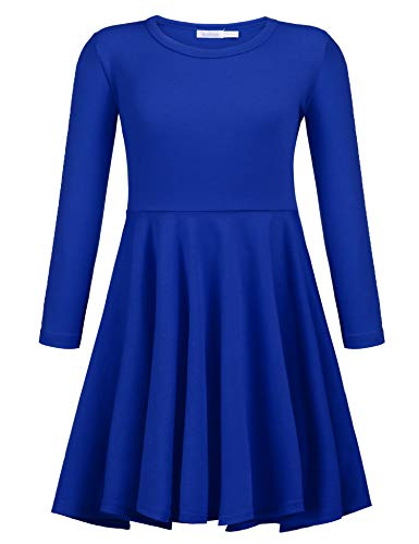 e51981f3eb9 Arshiner Girls  Cotton Long Sleeve Twirly Skater Party Dress