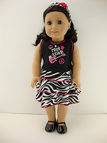 Zebra Print Dress with Rock and Roll Theme with Matching Headband for 18 Inch Doll Like the American Girl -