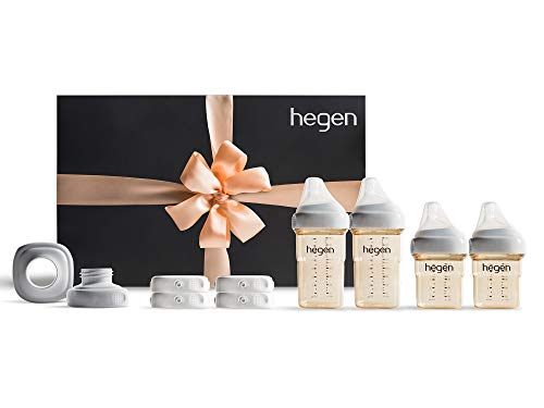 Hegen Newborn Baby Bottle Complete Starter Kit- PPSU Bottle for Babies, Breast Milk Storage Lids, Secure Seal, Medium and Slow Teat, Standard Neck ()