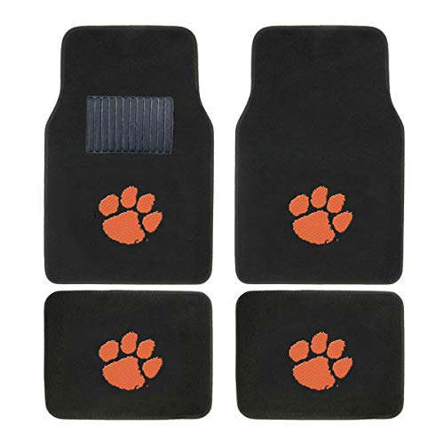(SLS Newly Released Licensed University of Clemson Embroidered Logo Carpet Floor Mats. Wow Logo on All 4 Mats.)