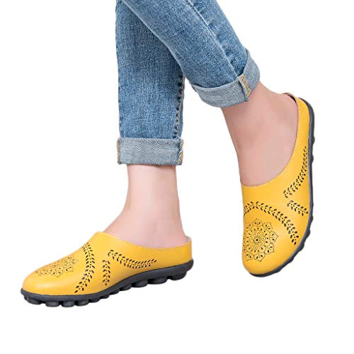 (Behkiuoda Women Summer Slippers Shoes Flat Sandals Soft Bottom Plus Size Beach Shoes for Girl Yellow)