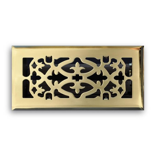 Truaire C164-OPB 04X12(Duct Opening Measurements) Decorative Floor Grille 4-Inch by 12-Inch Ornamental Scroll Floor Diffuser, Polished Brass Finish