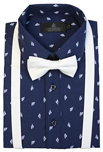 (Vittorino Boys' Dress Shirt with Matching Bowtie and Suspenders Set, Navy White, 7)