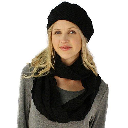 Ladies 2pc Winter Chunky Knit Beret Beanie Tam Hat Long Infinity Scarf Set ()