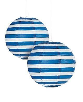 Lantern Stripe (Navy Striped Paper Lantern - 12