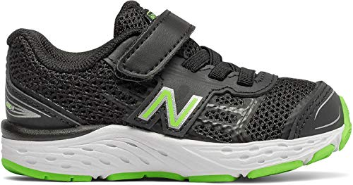 New Balance Boys' 680v5 Hook and Loop Running Shoe, Black/RBG Green, 7.5 M US Toddler