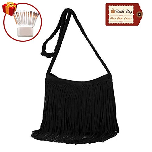 Heidi Hobo Hippie Fringe Tassel Faux Suede Shoulder Messenger Cross Body Womens Sling Bag (black) by Heidi