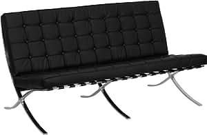 Flash Furniture ZB-CALCUTTA-801-LS-BK-GG Hercules Calcutta Series Leather Love Seat with Cross Legs