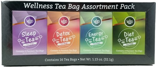 Wellness Tea Assortment Pack Sampler - Great Healthy Herbal Teas to help with Energy, Wellness, Diet and Detox - Makes a Great Gift Basket or Care Package by Wellness Tea Bag Assortment