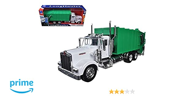 New Ray Kenworth W900 Garbage Truck in Green 1:32 Scale Moving Parts  Diecast Metal and Plastic