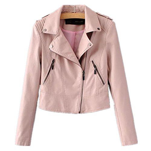 Huafeiwude Womens Classic Faux Leather Biker Motorcycle Short Jacket Punk Rock Pink L