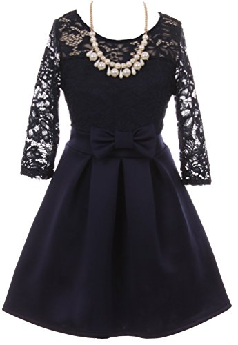 BluNight Collection Little Girls Elegant Floral Lace Illusion Top Pearl Necklace Holiday Flower Girl Dress Navy Blue 6 (2J1K0S4) -