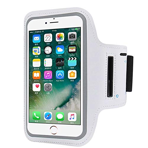 "Cell Phone Armband Compatible with iPhone X Xs,8 7 6 6S 8, 7,6S,SE,5S,5C,5,4S,4,GalaxyS9,S8,S7,S6,Phone Models Diagonal 4.0""~5.2"". Water Resistant Breathable Phone Armband for Running, Biking -Silver"