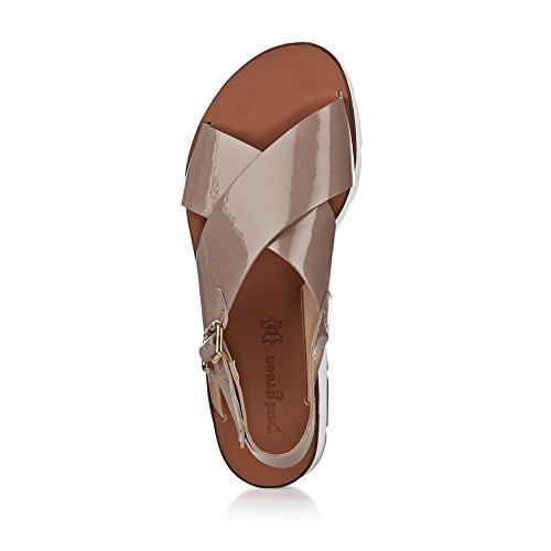 Paul Green 6989-039 Damen Sandale Aus Edlem Lackleder Laufsohle mit Keilabsatz Taupe