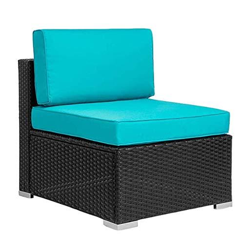 Rosmarus 1 Pieces Outdoor Furniture Patio PE Rattan Middle Armless Sofa (Black)
