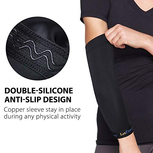LotFancy 1 Pair Elbow Brace for Women Pain, Elbow Compression Sleeves for Men Tendonitis, Arthritis, Bursitis, Golf, Weightlifting, Copper infused Elbow Arm Support for Joint and Recovery, Size S