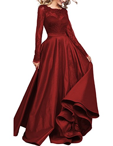 Burgundy Illusion - DarlingU Women's Long Sleeves Prom Evening Dresses Pockets Lace Appliques Formal Party Gown Illusion Burgundy 8