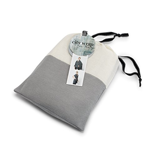 - Grey & Cream Two Tone Soft Knit Women's One Size Poly Blend Multiwear City Wrap on the Go