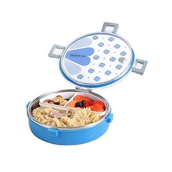 Asuvi Food Grade Stainless Steel Insulated Kids Lunch Box Container with Mini Salad Box and Spoon,Round-920 ML