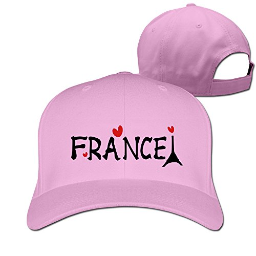 - Charplory Men France Txt Effel Tower Hearts Vector Art Women Unisex Adjustable Peaked Baseball Cap Pink