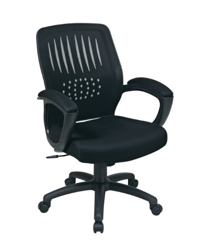 Office Star Screen Back Over Designer Contour Shell Managers Chair with Padded Mesh Seat and Padded Loop Arms, Black ()