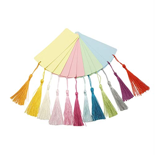 Chris.W 12Pcs Blank Cardstock Bookmarks with 12 Colorful Tassels - Great for DIY Projects and Gifts Tags - 5.5 by 2 inches - with 4 Colors Papers ()