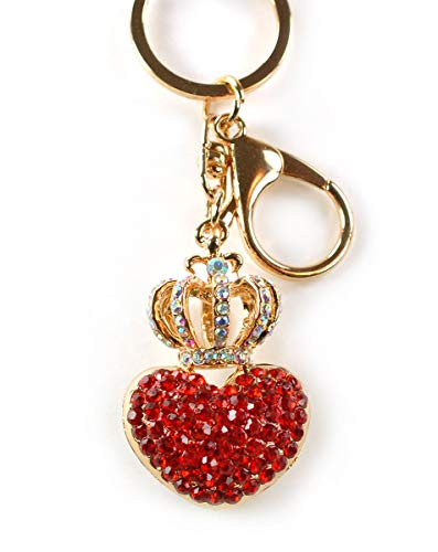 (Princess Crown Heart Valentine Love Rhinestone Crystal Keychain Rhinestone Crystal Handbag Key Charm Ring (Red))