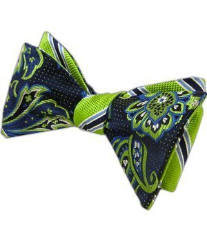 The Tie Bar 100% Silk Navy and Apple Bella Pin Reversible Self-Tie Bow Tie (Reversible Bow Tie)
