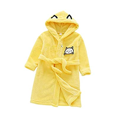 Yuntown Children Dressing Gowns Bathrobe Hooded Cute Cartoon Soft Flannel