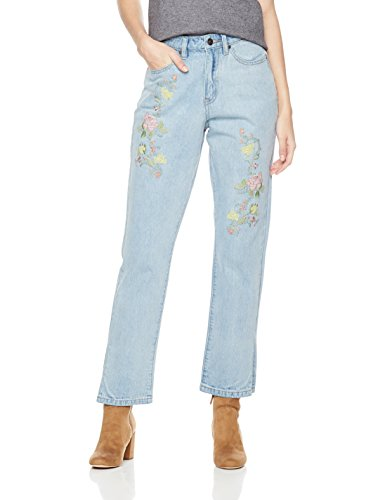 (Lily Parker Women's High Waist Rose Embroidered Relaxed fit Straight-Leg Jeans 27 Light)