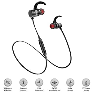 Bluetooth Headphones,Best Wireless Sports Earphones w/ Mic IPX4 Waterproof HD Stereo Sweatproof In Ear Earbuds for Gym Running Workout 10 Hour Battery Noise Cancelling Headsets