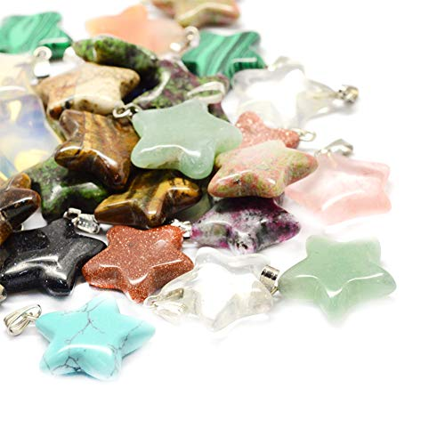 (ARRICRAFT 50pcs Natural Stone Pendants Star Gemstone Beads with Pinch Bail for Necklace Earring Mobile Key Chain)