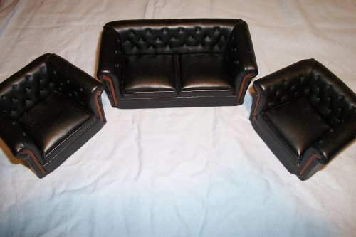 Dollhouse Miniature 1:12 Scale 3 Pc Black Leather Sofa SET P6224