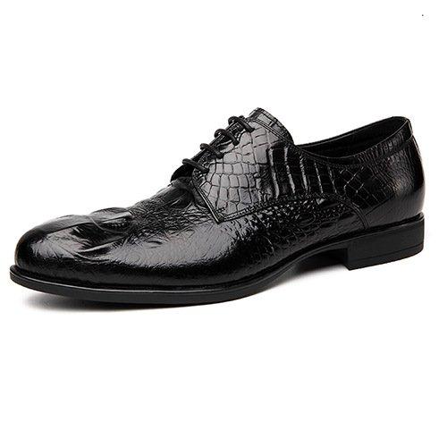 WZG Calzado hombre primera capa de zapatos casual de negocios zapatos de cuero de los hombres de cuero de los solos zapatos de cocodrilo zapatos de la boda Black