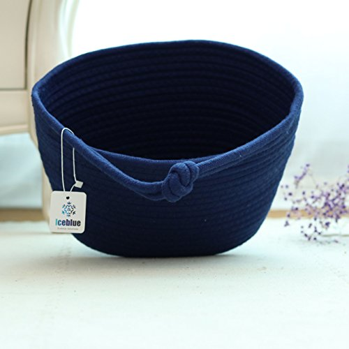 - ICEBLUE 9.8''X5.9''X7''Royal Blue Oval Cotton Rope Over Wall Door Closet Window Hanging Storage Basket