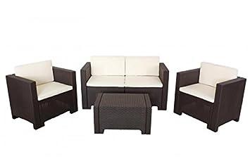 Conjunto sofas de terraza ACACIA, 1+1+2+mesa, poliratán ...
