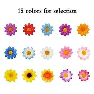 Artificial Daisy Flower Heads 100pcs Fake Gerbera Petals Sky Blue DIY Garland Craft Birthday Indoor Outdoor Party Easter Bonnet 6