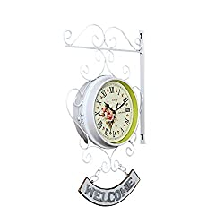 Ysayc Double-Sided Wall Clock - European-Style Iron Roman and Arabic Numerals Hotel Living Room Outdoor Garden WELCOME Wall Clock, White