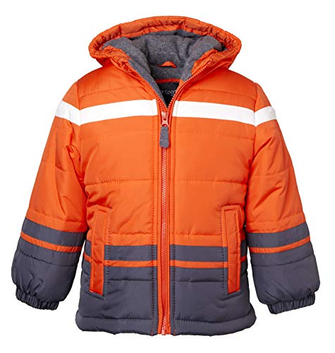 Sportoli Boys' Fleece Lined Hooded Colorblock Winter Puffer Bubble Jacket Coat - Orange (Size 10/12)