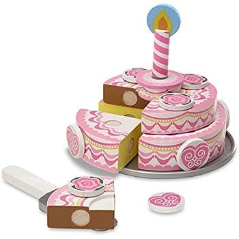 Amazoncom Melissa Doug Birthday Party Cake Wooden Play Food