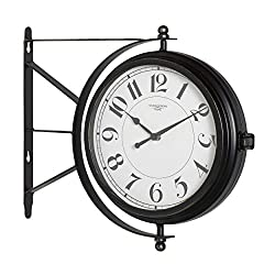Studio Designs Home Metro Station 18 Dual Face Clock and Thermometer in Oil Rubbed Bronze 73015, 15.75 W x 14.25 H x 3.25 D,