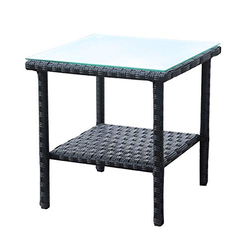 Black Rattan - Rattaner Outdoor PE Wicker Rattan Side Table - Patio Rattan Garden Coffee End Square Table with Glass Top-2-layer Table Furniture, Black
