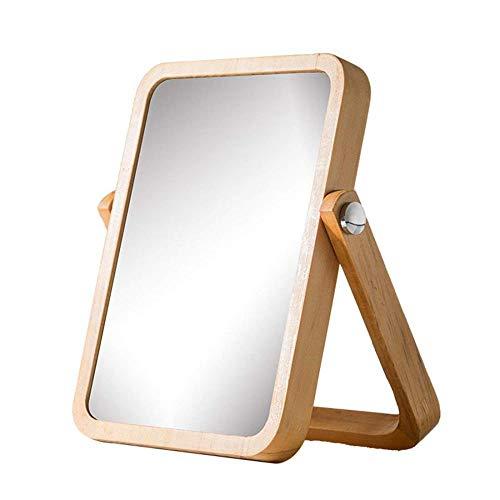 DTTX001 Home Desktop Dressing Table Desktop Makeup Mirror Vertical Makeup Mirror Portable Makeup Mirror Pine Frame - Adjustable Rotating High Definition,Gold,Small