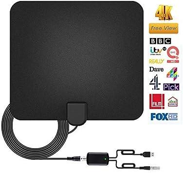 Antena de TV Interior [2019 Nueva versión] Antena de TV Interior Potente, 80+ Mile HDTV Antena TDT Interior con señal Amplificador Booster Soporte 4K ...