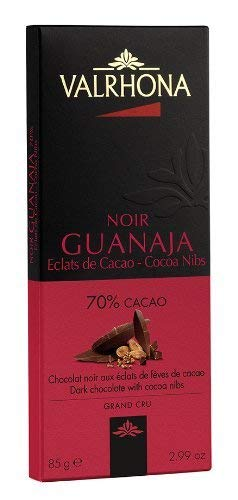 VALRHONA Guanaja with Cocoa Nibs 70% Dark Bar, 2.46 Ounce