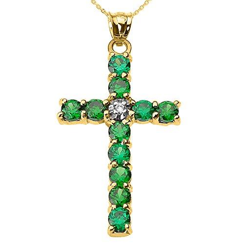 Collier Femme Pendentif 14 Ct Or Jaune Diamant et Vert Oxyde De Zirconium Croix (Livré avec une 45cm Chaîne)