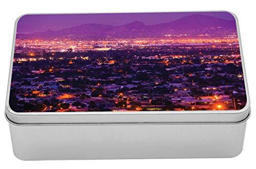 Ambesonne Arizona Tin Box, Dramatic Phoenix Skyline Suburbs at Night Western Urban City Panorama, Portable Rectangle Metal Organizer Storage Box with Lid, 7.2