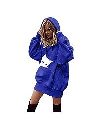 DRAGONHOO Sweatshirts for Women Cat Print Clothes Hoodies Pullover Coat Hoody Sweatshirt Tops